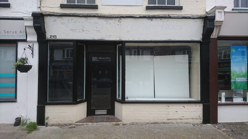 A progress shot of the Window Gallery as it goes from disused shop to attractive art space.