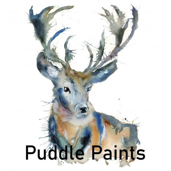 A look at Puddle Paints Stag image for the Window Gallery Art Gallery 2020 Calendar