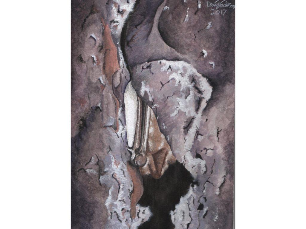 Painting of Myotis Hibernating by David Jackson